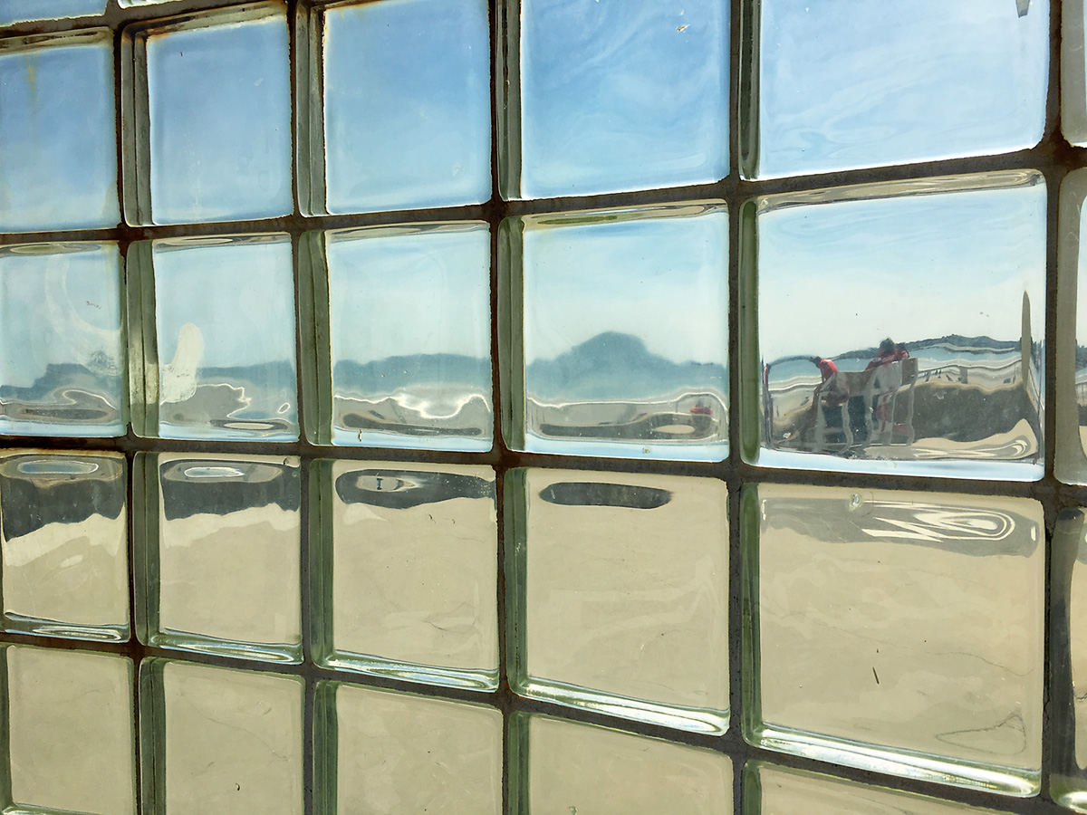 nantasket beach through block glass